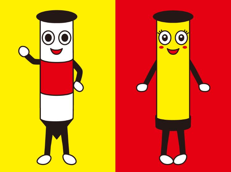 宣信工業キャラクター『赤白 アシ君』と『黄色 キィちゃん』